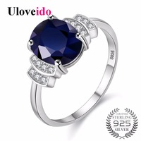 Uloveido Silver 925 Jewelry Dark Blue Zircon Wedding Rings For Women Engagement Ring With Stone Women