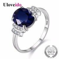 Uloveido Prata 925 Jóias Dark Blue Zircon Anéis de Casamento para mulheres Anel De Noivado com Pedra Anel das Mulheres com Caixa 20% CJ008