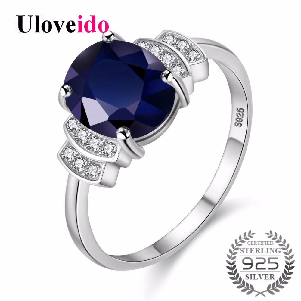 Uloveido Silver 925 Jewelry Dark Blue Zircon Wedding Rings for Women Engagement Ring with Stone Womens Ring with Box 20% CJ008