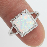 Free Shipping Wholesale Retail Silver Plated Four Claw Inlay White Pink Blue Fire Opal Rings Size