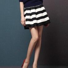 цена на Popular 2013 autumn winter black and white stripe knitted basic high waist skirt bottom expansion short bust skirt female