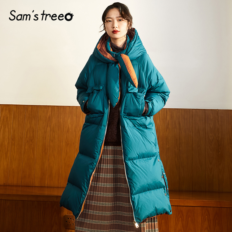 Samstree Vintage Winter Female Long   Down     Coats   Patchwork Contrast Color Thick   Down     Coats   Tie Collar Snow Parka Oversize