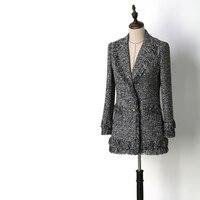 Для женщин модные элегантные lurex tweed Пиджак однобортный Зубчатый воротник кисточкой пиджаки верхняя одежда новый 2018 весна осень серый