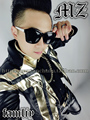 GD fm bigbang singer costumes right Zhilong style Men's pale gold black stitching top stage singer leather jacket  / S-XL