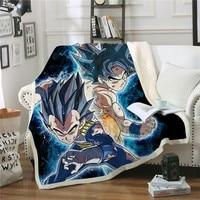 HOT Beliebte Plüsch Decke Dragon Ball Anime 3D Druck Fleece Decke Waschbar Bettdecke Mode Quilts Reise Büro|Decken|   -