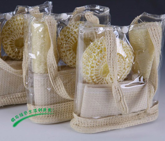 100% nature loofah and sisal bath scrubber set
