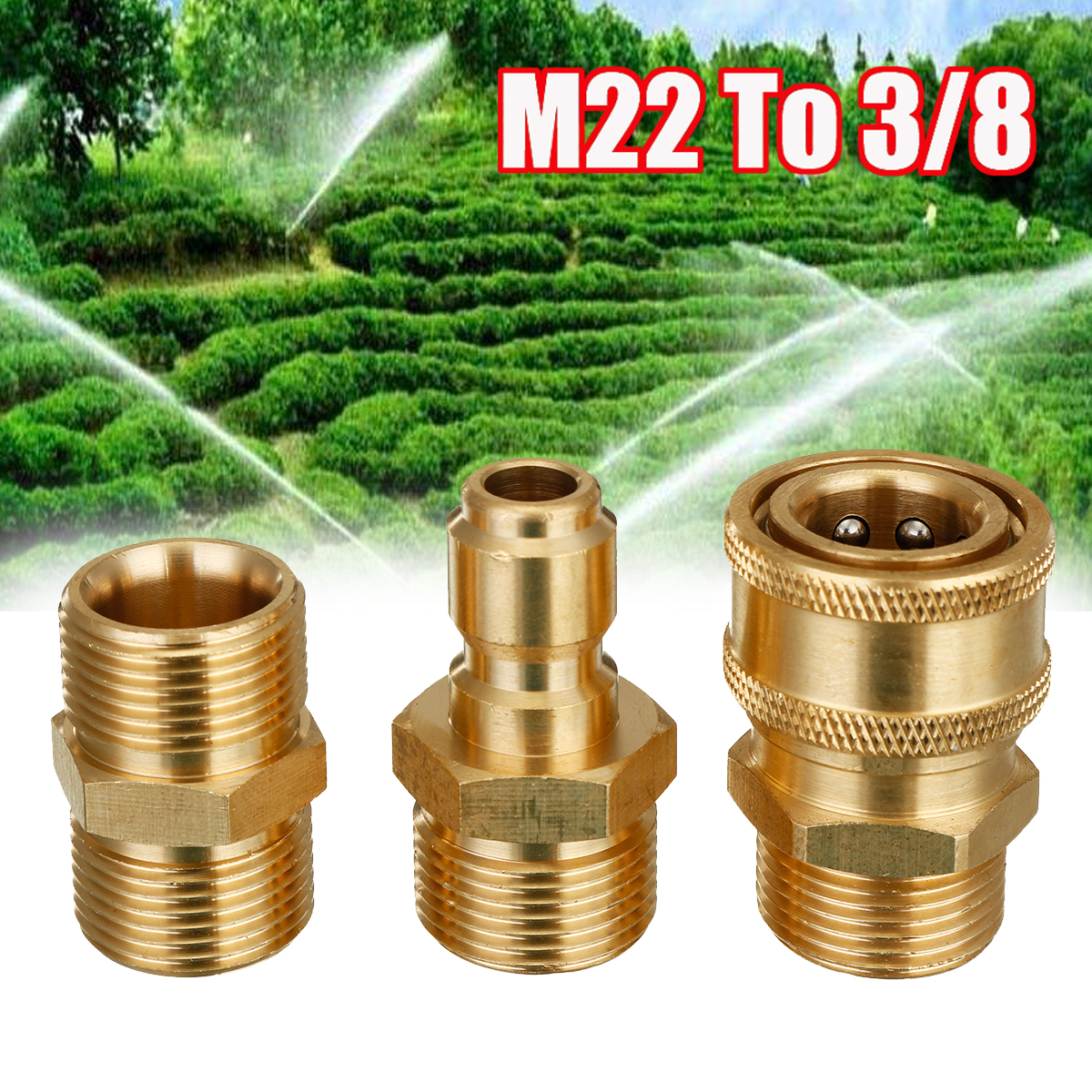 цена на 22mm 3PCS M22 To 3/8 Quick Release Pressure Washer Hose Coupling fitting Connector Replacement Garden Tool