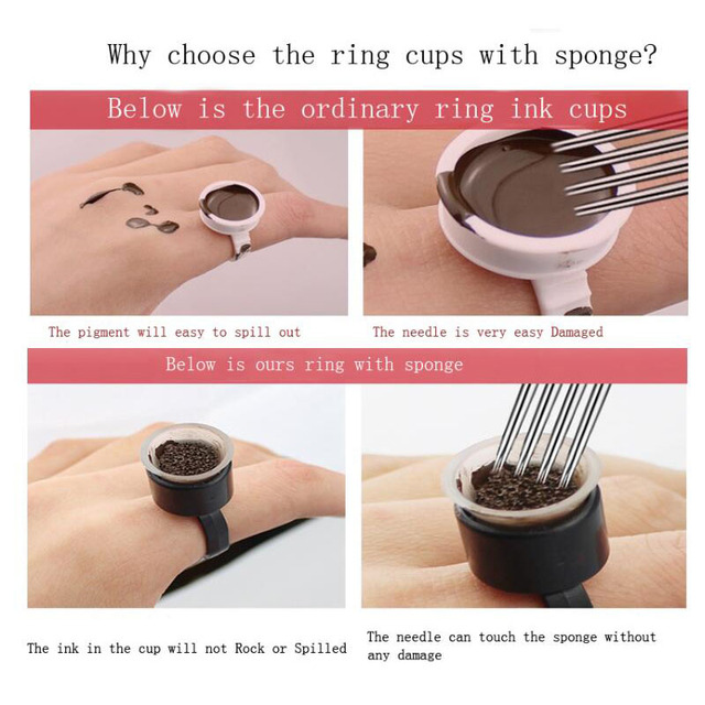 20pcs Tattoo Supplies Ring Cup Cap Tools Microblading Pigment Holder Permanent Makeup Disposable Tattoo Ink Cups With Sponge 5