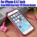 Varejo Nova Marca NODEA Dual Color TPU Silicone Bumper para o iphone 6 4.7 polegada para iPhone 6 Plus com cinta do telefone N °: IP618