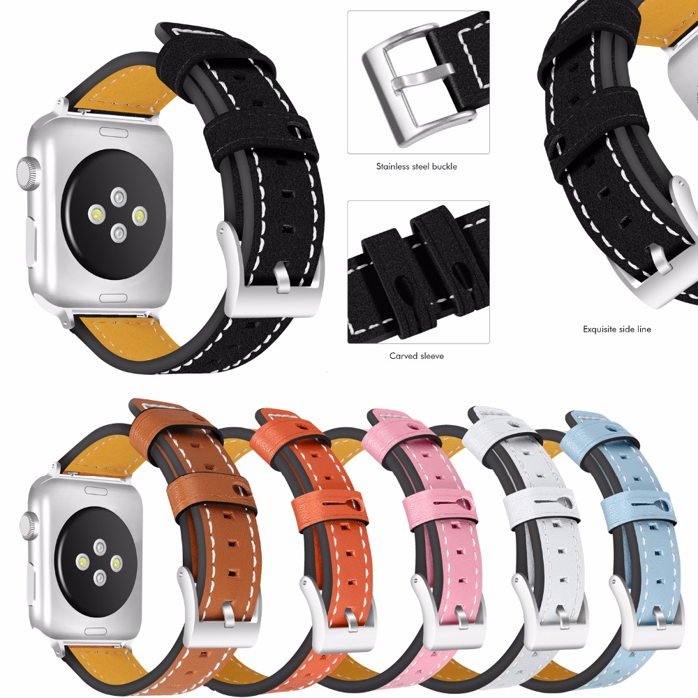 6 Colors for Apple Watch Bands, Joyozy Calf Leather Replacement Band/Strap for iWatch Series 3, Series 2, Series 1, Sport and