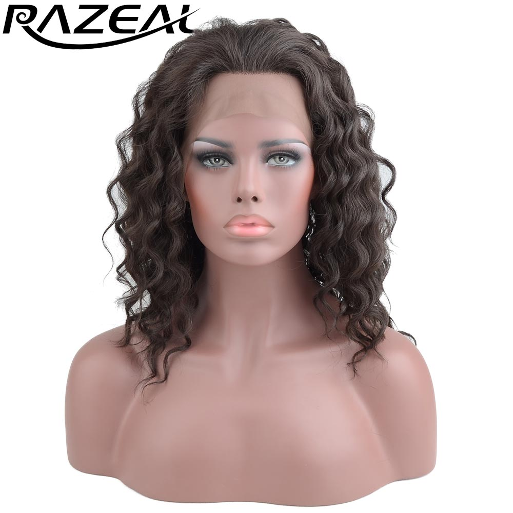 16inch Lace Front Wigs Synthetic Hair Heat Resistant Fiber Brown Deep Wave Wigs For Women Free Parting 185G