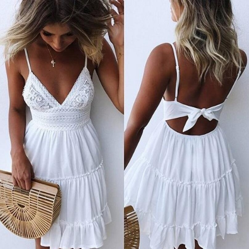 Girls White Summer Dress Spaghetti Strap Bow Dresses Sexy Women V-neck Sleeveless Beach Backless Lace Patchwork Mini Dress