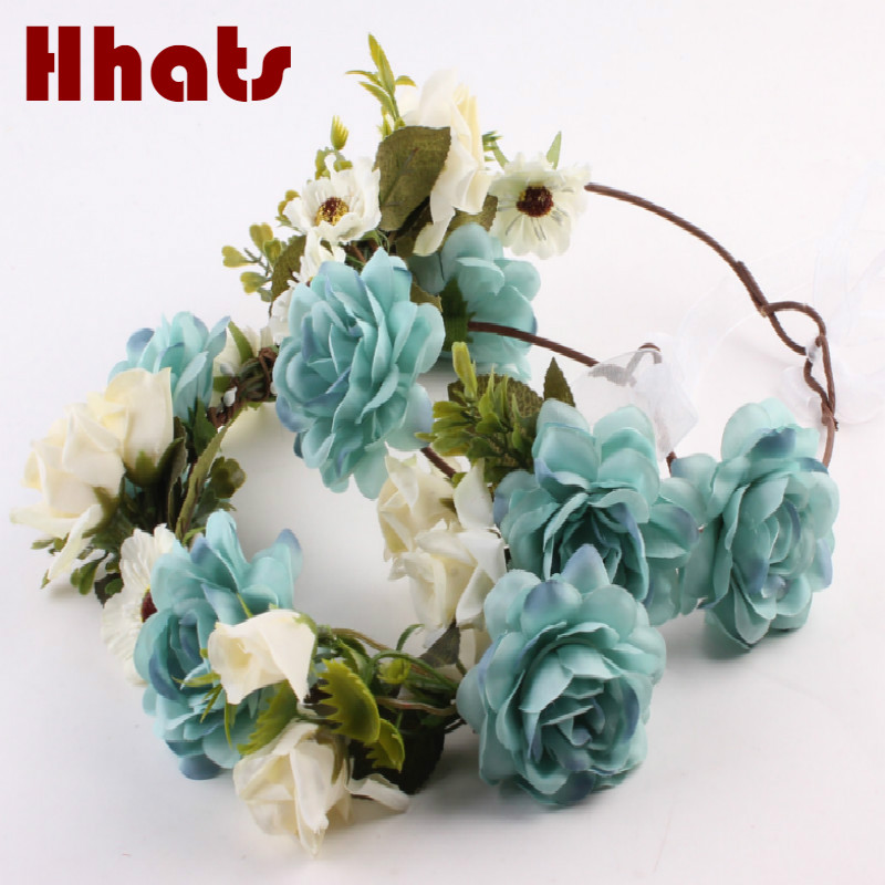Party festival artificial flower hair accessories women girl wedding silk flower headband crown garland floral bridal headwear
