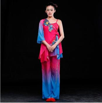 (090) Chinese classical dance costumes yangko dance red blue costumes female drum fan national dance stage performance clothes