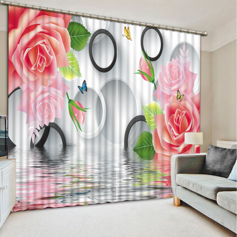 Decoration curtains Customized size Luxury Blackout 3D Window Curtains For Living Room pink curtains