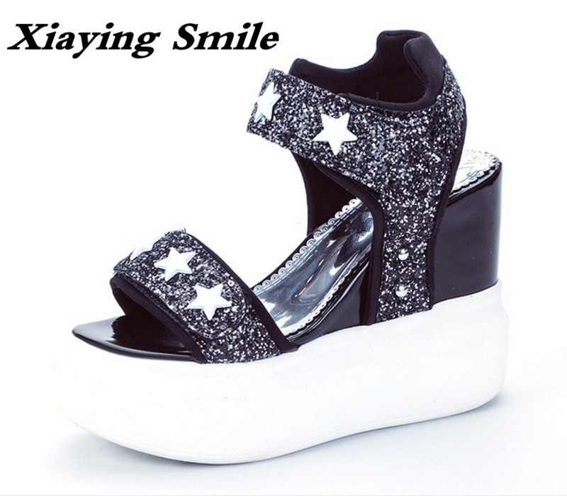 Xiaying Smile Summer Woman Sandals Shoes Women Pumps Platform Wedges Heel Fashion Casual Loop Bling Star Thick Sole Women Shoes women sandals 2017 summer style shoes woman wedges height increasing smile fashion gladiator platform female ladies shoes casual