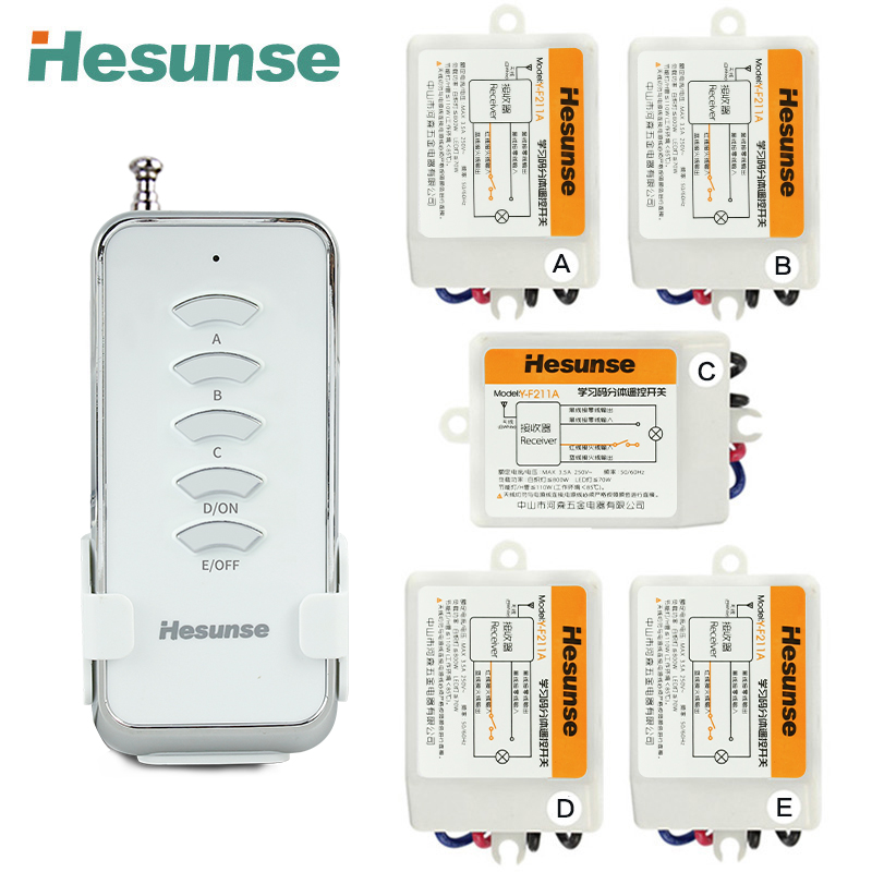 Free shipping Y-F211A1N5 5 Channels RF Wireless Remote Control Switch 5 Receivers And 1 Remote 220V 110V 315mhz