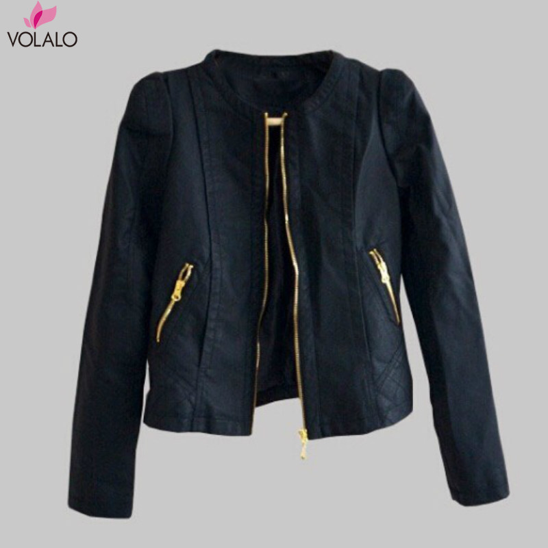 Women Casual Zip Up PU Leather Motorcycle BF Style Punk Short Blazer Jacket Outcoat