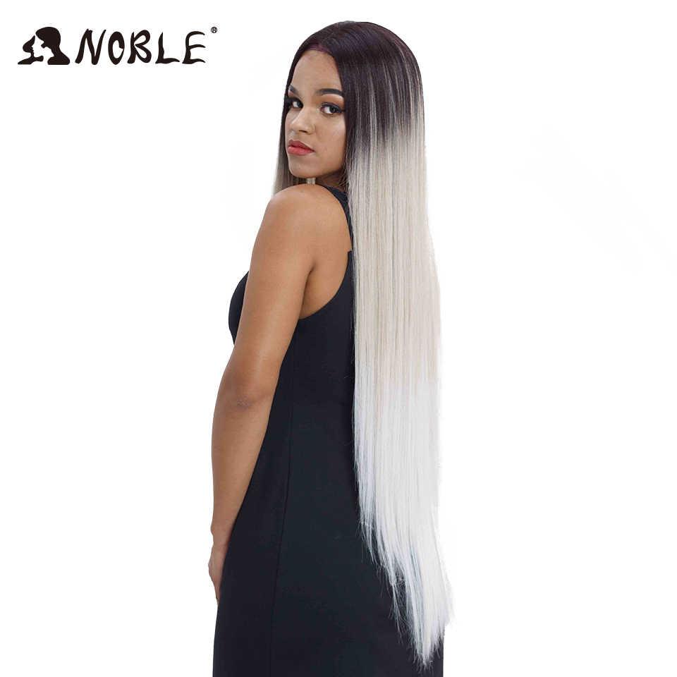 Pelucas de pelo Noble para mujeres negras recto de encaje sintético pelo frontal de 38 pulgadas Ombre peluca frontal de encaje Cosplay de encaje Rubio peluca delantera