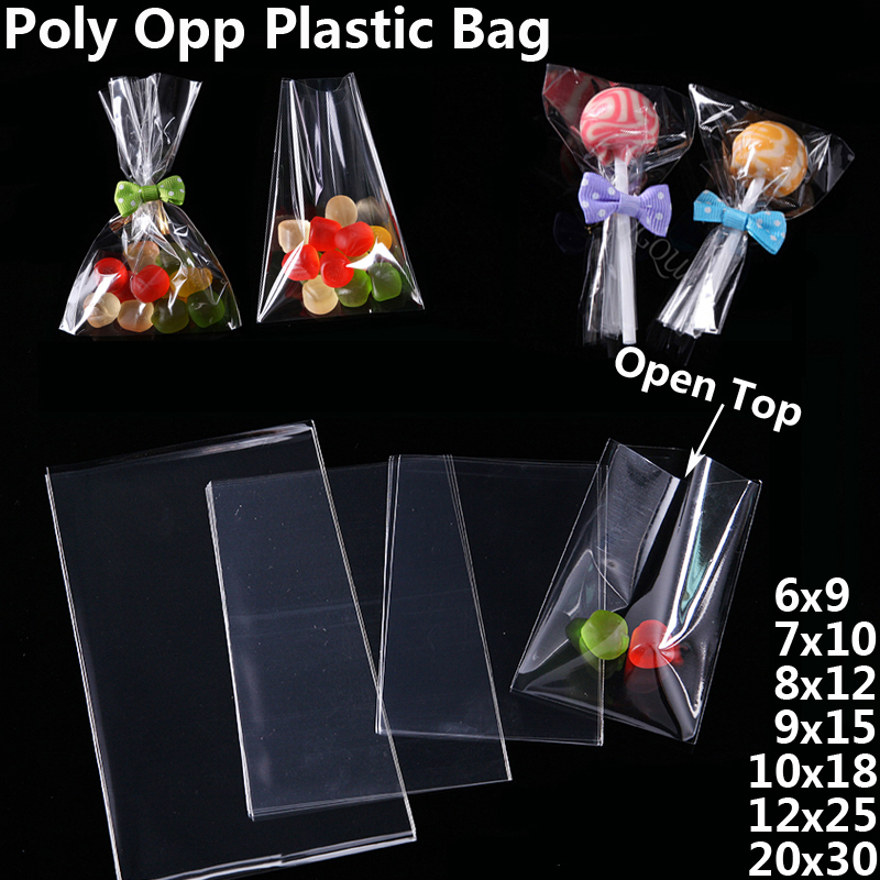 Transparent Poly OPP Gift Bags Jewelry Pouch Soap Food Lollipops Packaging Bag Birthday Party Cookies Candy Bag Plastic Baggie