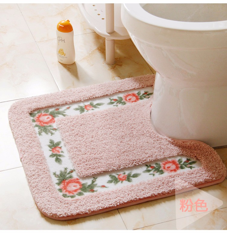 Coral Velvet Soft Toilet Pattern for Bathroom