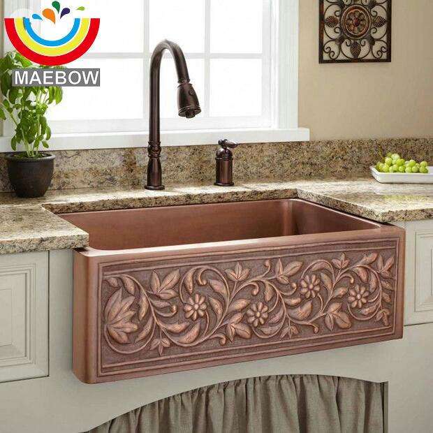 60 43 20cm with drain regtangular copper apron front kitchen sink