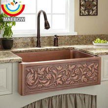 Cheap Copper Kitchen Sinks Buy copper kitchen sink and get free shipping on aliexpress 604320cm with drain regtangular copper apron front kitchen sinkchina workwithnaturefo