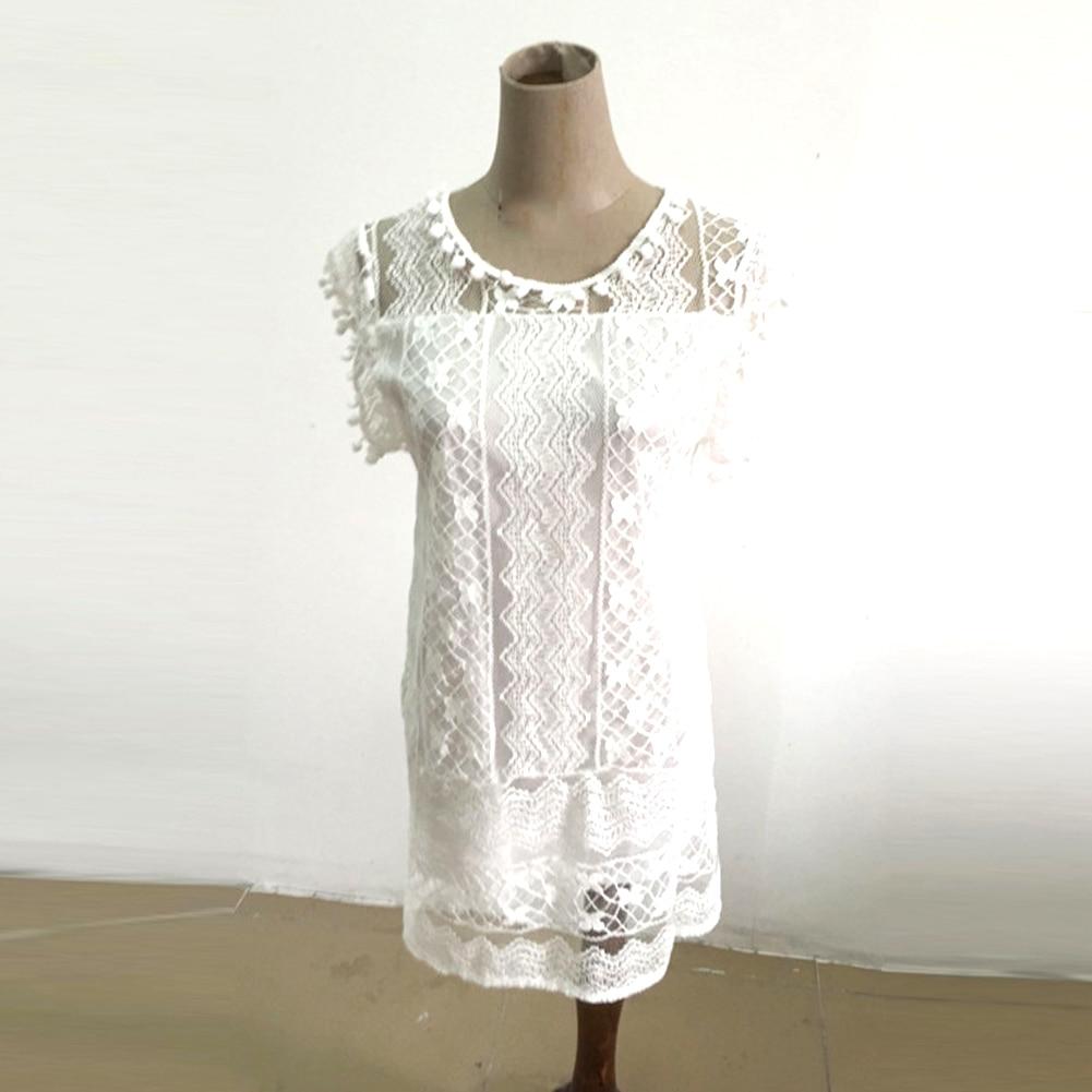 White Mini Lace Beach Dress 4