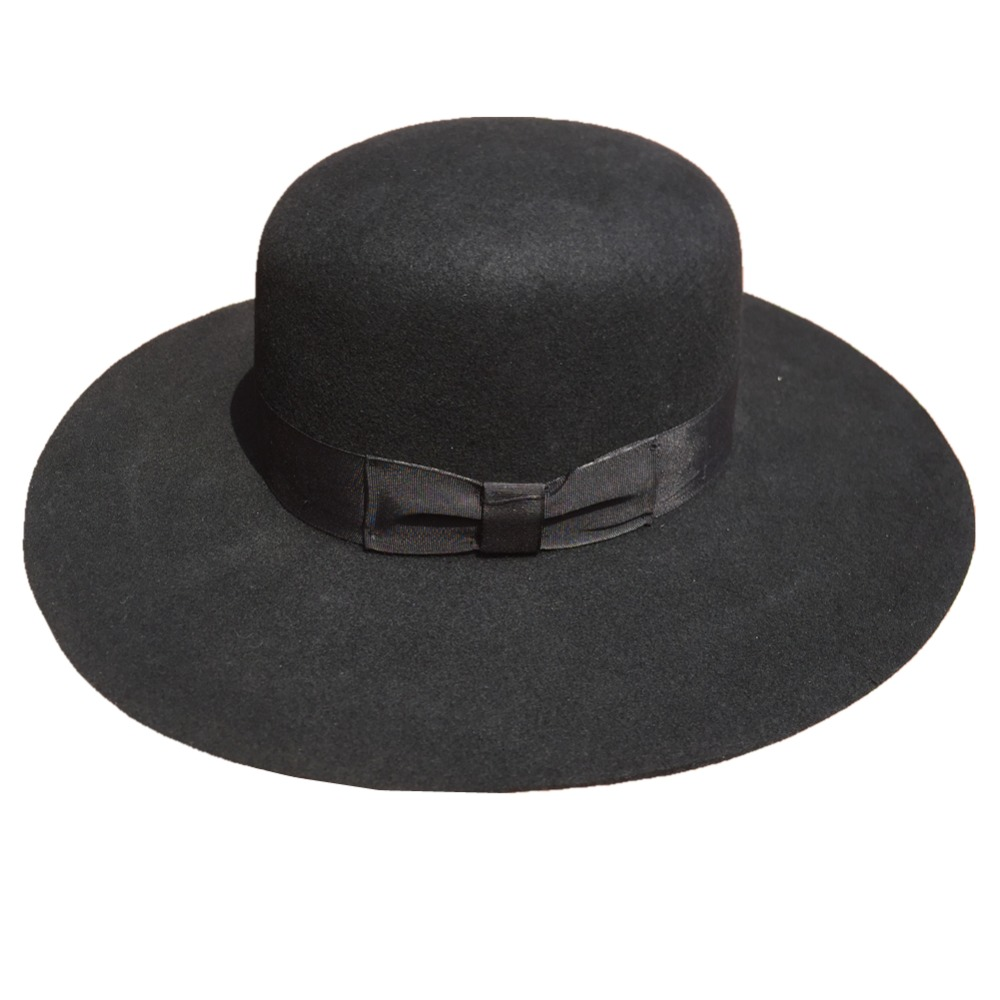 Women s Black Wool Felt Big Wide Brim Cap Hat Fedora - Round Top 10cm Brim 6c46a524caf