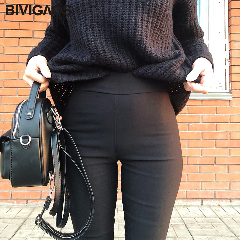 BIVIGAOS Spring Summer Fashion Womens Black Casual Elastic High Waist Leggings Trousers Pocket Pencil Pants Skinny Slim Female 4