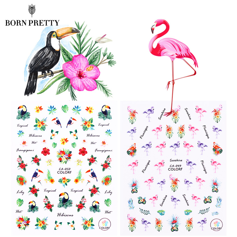 Flamingo Nail Stickers Animal Series Water Decal Ocean Cat Plant Pattern 3D Manicure Sticker Nail Art Decoration 50pcs cane polymer clay nail art stickers 3d fruit and flower cutted rolls stamp decal tip cute printer diy nail sticker