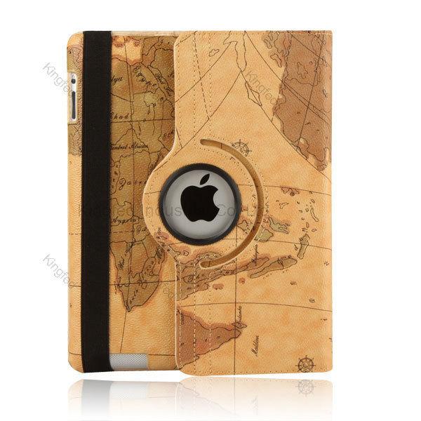 Mapa do mundo de 360 graus de rotação de couro PU suporte capa de proteção para iPad 2 / 3 / 4