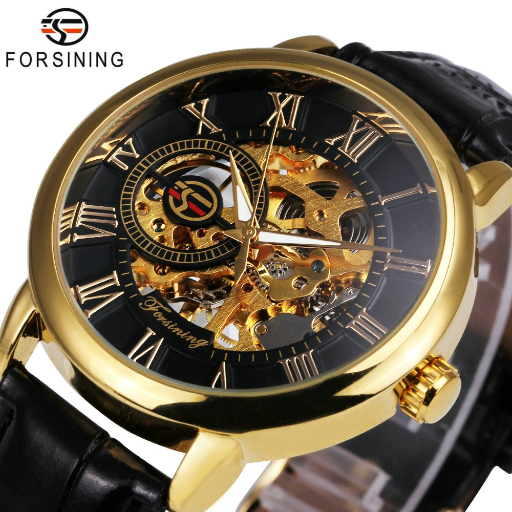 2018 FORSINING 3D Logo Black Gold Heren Mechanisch horloge Montre Homme Herenhorloges Topmerk Luxe lederen WINNER Skeletontwerp