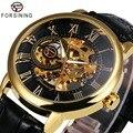 2018 FORSINING 3D logotipo Oro Negro mecánico de los hombres reloj Montre Homme hombre relojes superior de la marca de lujo de cuero ganador esqueleto diseño