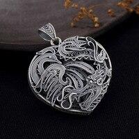 Phoenix Love Heart Shape 925 Sterling Silver Diy Pendant Charms Women Costume Jewelry Fit Pendant Necklace