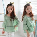 Children's Clothing Girls Short-Sleeved T-shirt 2017 Summer New Cotton Hollow Embroidery Loose Breathable Shirt 3-14 Years Old