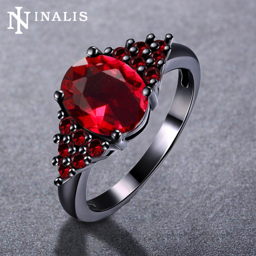 Inalis Luxury 4 Colors Oval Zircon Stone Engagement Rings For Women Black  Gold Color Female Party