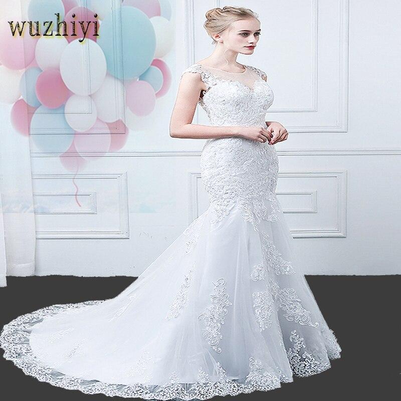wuzhiyi mermaid wedding dresses  Lace wedding dress sleeveless bridal Gown Plus size vestidos de noiva China Wedding dress 2018