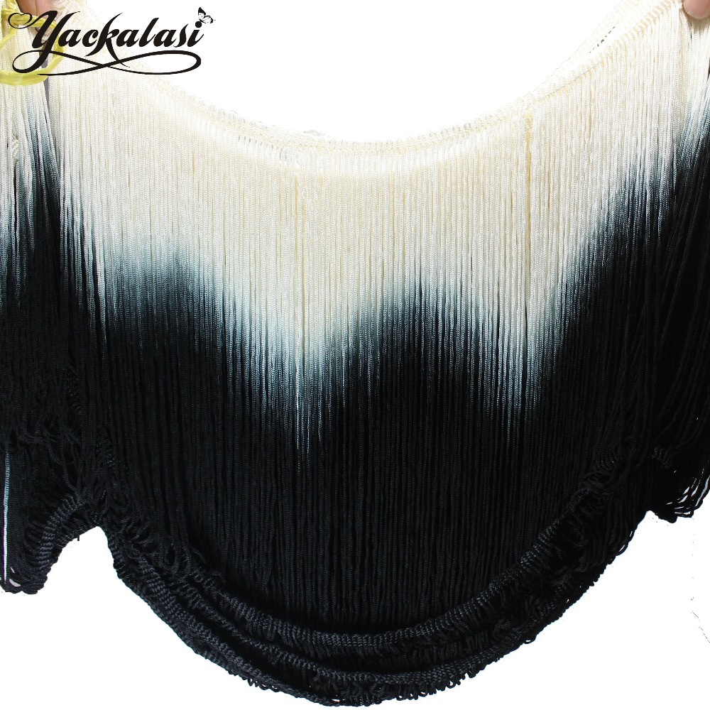 Black ombre curtains - Dip Dye Ombre Fringe Tassel Soft Rayon Latin Macrame Dance Dress Trimming Samba Skirt Tassel Loop