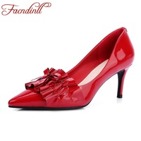 FACNDINLL New 2018 Fashion Women Pumps Genuine Patent Leather Sexy High Heels Pointed Toe Shoes Woman
