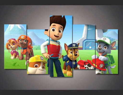 UnFramed 5 Panel Paw Cartoon Patrol Modern Wall Painting Art Picture <font><b>Paint</b></font> on Canvas for Kids Room Home Decor for Living Room