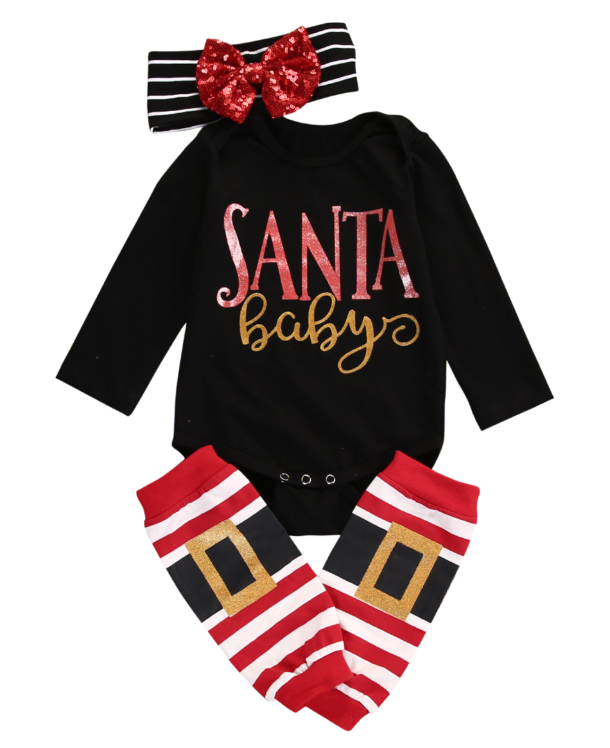 Navidad bebé Niños Niñas jumpsuit + Pantalones ropa 3 Sets Navidad Baby rompers set bebé recién nacido Ropa 2016 nuevo