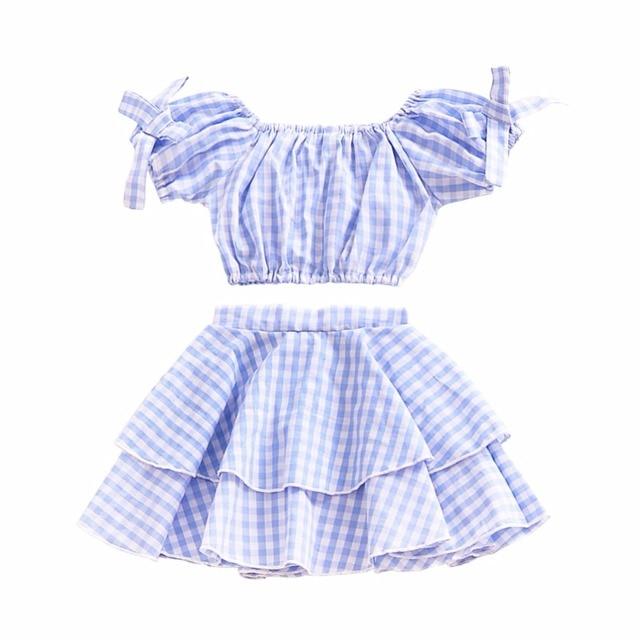 e874f37b6871 Aliexpress.com   Buy 2018 Baby Girl Plaid Off Shoulder Clothing ...