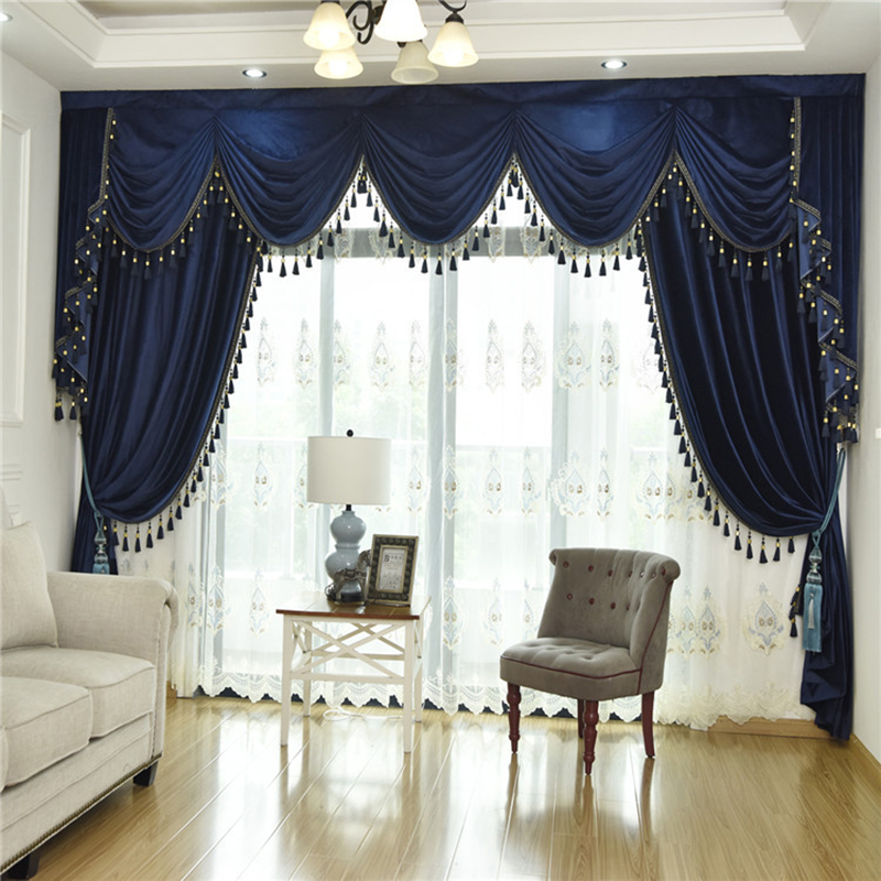 Us 1359 33 Off2019 New Mazarine Dutch Velvet Curtains Screen Hotel Fabric Window Valance European Curtain For Living Room Bedroom Customized In