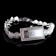HF Brand Top Quality Women Real Silver Quartz Watch S925 Silver Shell Bracelet Rectangle Watch Real Silver Band Bangle Watch