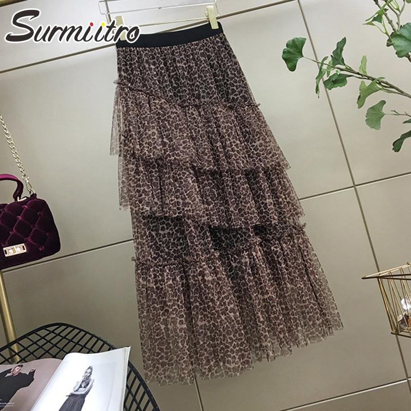 Surmiitro 2019 Spring Summer Leopard Tulle Skirt Women Korean Long Maxi High Waist Sun High Waist A-line Pleated Skirt Female 3