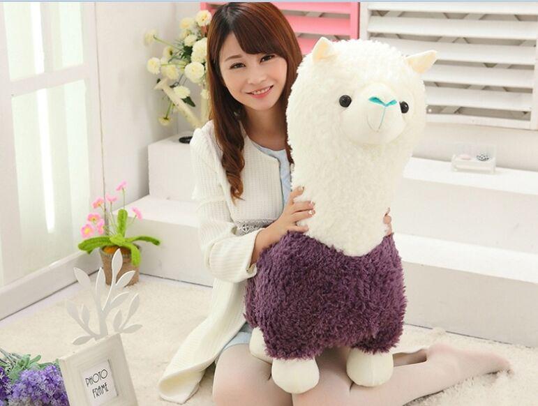 Grand 65 cm violet et blanc alpaga peluche jouet doux poupée oreiller jouet cadeau de noël b1230