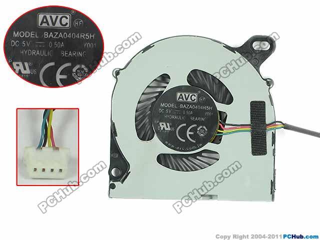 AVC BAZA0404R5H P001 Y001 Server Laptop Fan DC 5V 0.5A 4-wire avc data1551b4l 17250 24v line server electronic enclosures fan