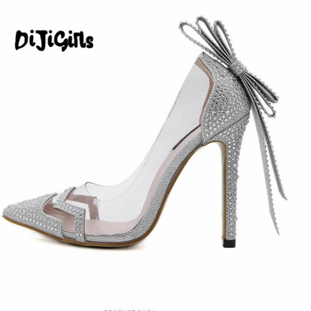 women rhinestone crystal PVC Clear court dress wedding bridal shoes bowtie butterfly knot sandals pumps silver woman high heels