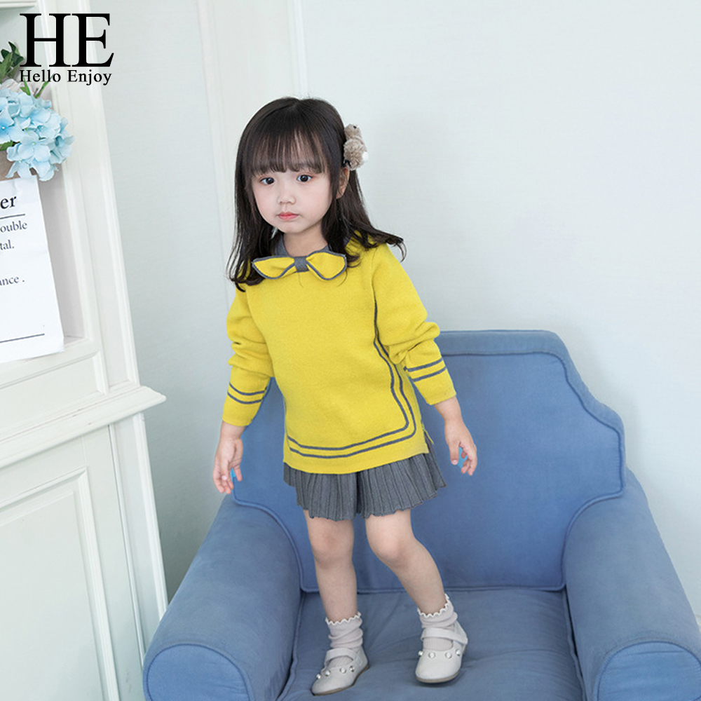 Image 2 - HE Hello Enjoy Toddler Girl Clothes Fashion Fall Boutique Kids Clothing Knit Pullover Sweater+Pleated Skirt Sets Winter Costume-in Clothing Sets from Mother & Kids